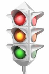 Retro traffic lights isolated on white background