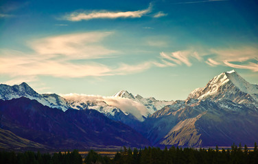 Wall Murals New Zealand New Zealand scenic mountain landscape shot at Mount Cook Nationa