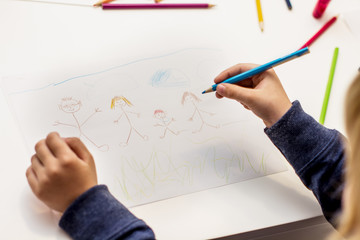 little boy drawing happy family