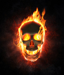 Evil skull in flames and smoke