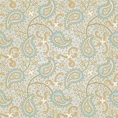 Ornate floral seamless texture. Grey endless pattern