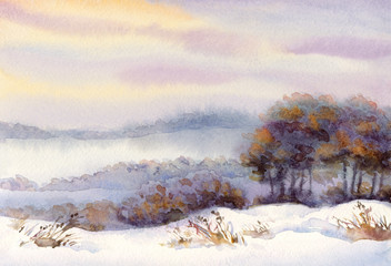 Watercolor winter landscape. Snow-covered valley and trees on th