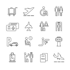 Flat airport icons set