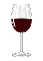 Red wine glass in vintage engraving style