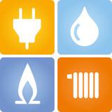 vier icons strom gas wasser w rme stockfotos und lizenzfreie vektoren auf bild. Black Bedroom Furniture Sets. Home Design Ideas