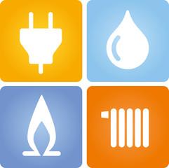 4 Symbole Strom Gas Wasser Wärme