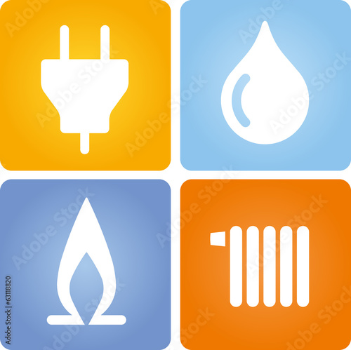 4 symbole strom gas wasser w rme stockfotos und. Black Bedroom Furniture Sets. Home Design Ideas