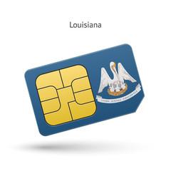 State of Louisiana phone sim card with flag.