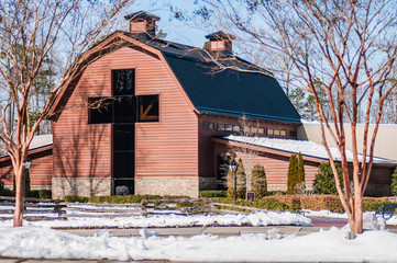 Wall Mural - snow covered landscape at billy graham free library