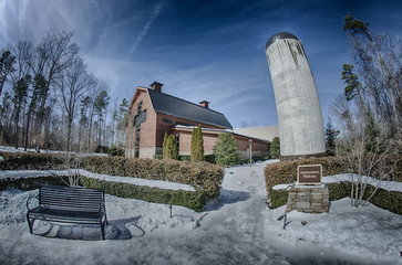 Wall Mural - snow around billy graham library after winter storm