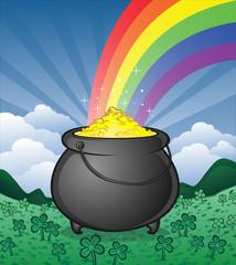 Pot of Gold in a Shamrock Field Cartoon