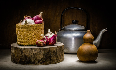 Still life of spices and kettle in kitchen