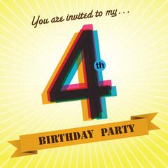 4th Birthday party invite/template design retro style - Vector