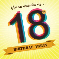 18th Birthday party invite/template design retro style - Vector