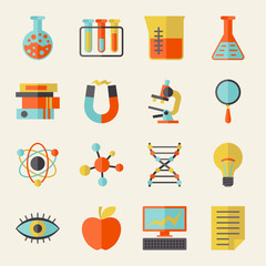Science icons in flat design style.