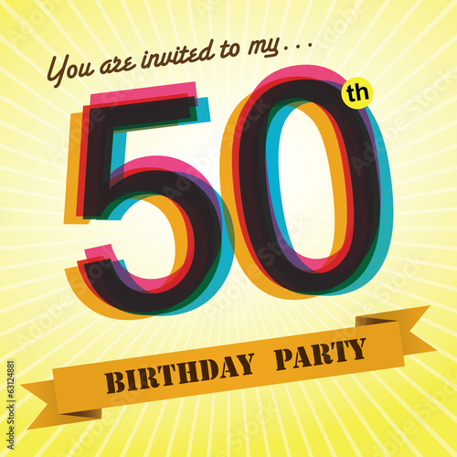 50th birthday party invite template design retro style vector