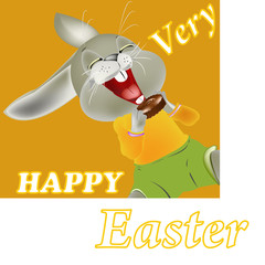 Happy Rabbit and Easter food.Holiday Happy Easter.Vector