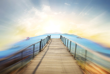 Wooden bridge into  sea