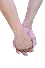 Couple hand isolated on white background