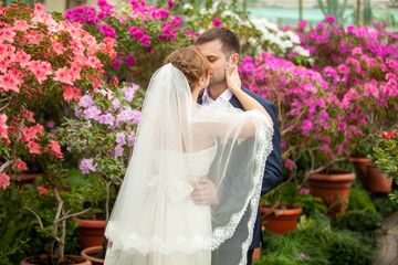 Portrait of newly married couple embracing among blooming trees
