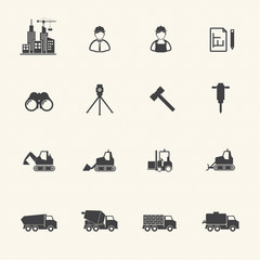 Construction equipment icons set