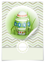 Easter Background With Eggs In Grass.