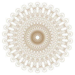 Decorative gold flower with vintage round patterns....