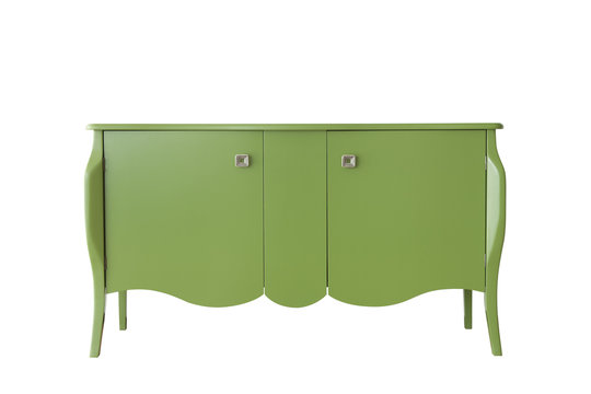 Green cabinet isolated on white