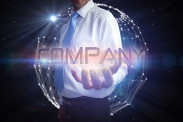 Businessman presenting the word company