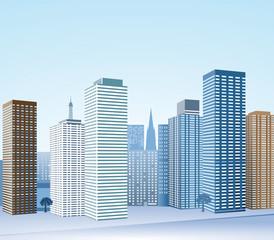 Grosstadt mit Hochhäuser