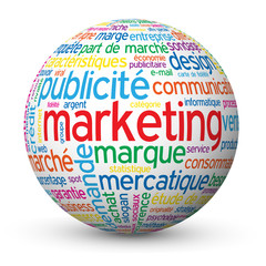 "Globe - Nuage de Tags ""MARKETING"" (publicité communication rp)"