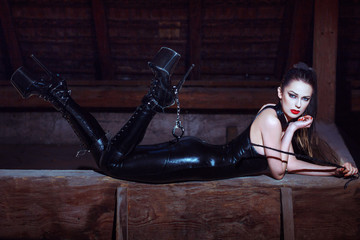 Sexy woman in catsuit