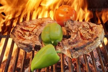 Grilled Organic Bone Steak on Cast Iron Grill, XXXL