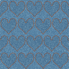 Embroidered hearts on denim, seamless pattern.