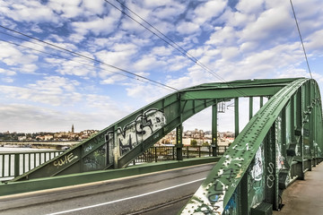 Renovated WWII Old Sava's Bridge Steel Riveted Arch With Belgrad