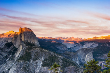 Wall Mural - Glacier Point, Yosemite National Park at sunset, Half Dome