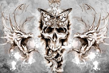 Death Tattoo design over grey background. textured backdrop. Art