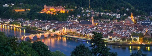 Fotomurales - Heidelberg Panorama bei Nacht