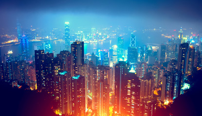 Deurstickers Hong-Kong Hong Kong Night View