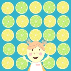 a girl with lemons background