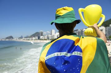 Brazilian Holding Trophy Rio de Janeiro Skyline