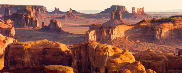 Foto auf Acrylglas Dunkelbraun American West Panorama, Monument Valley