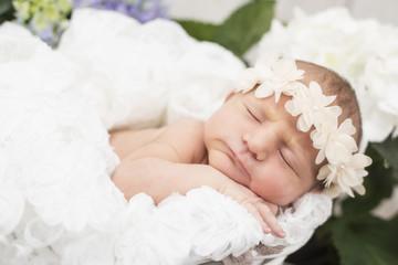 Newborn Baby schlafend auf dem Bauch mit Haarband