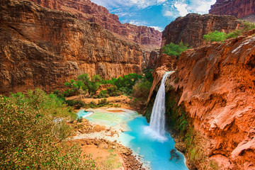 La pose en embrasure Parc Naturel Havasu Falls, Havasupai Indian Reservation