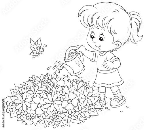 Раскраски цветы и девочки с цветами