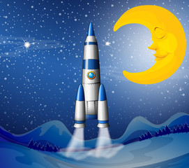 A rocket going to the sky with a sleeping moon