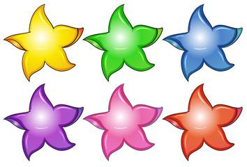 Three colorful stars