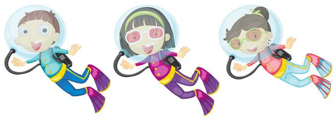 Three scuba divers