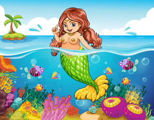 A sea with a smiling mermaid