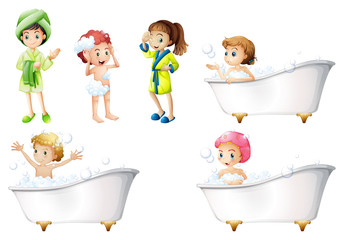 Kids taking a bath